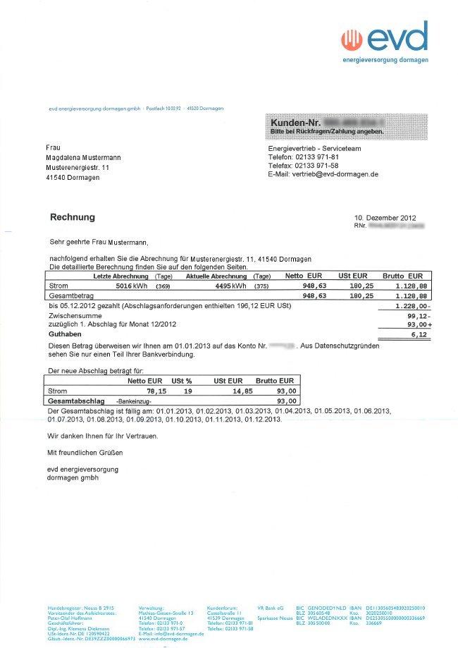 Immergrün Strom Rechnung : musterrechnung ~ Themetempest.com Abrechnung